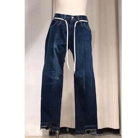 ist design project  switching curve panel slit denim pants  A