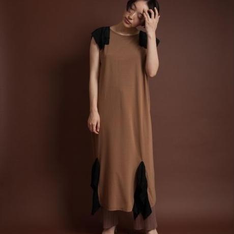 BANSAN Pleat jersey long dress-BROWN