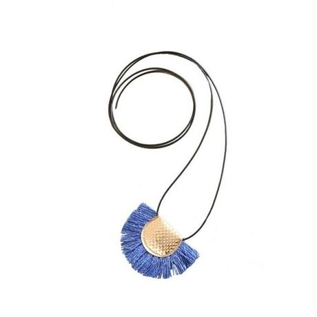 Japanese paper fringe necklace ーBLUE