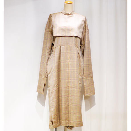 NATSUMI ZAMA   Solor Collar Check Dress | AW19_DRS5