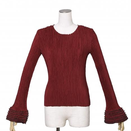 BANSAN  Frill sleeve pleat tops-RED