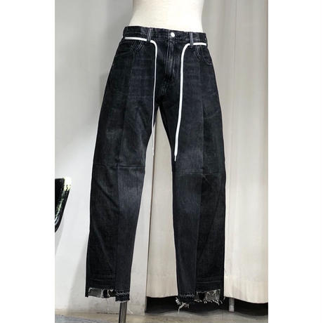 ist design project  switching curve panel slit denim pants H