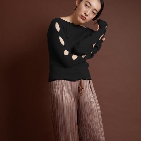 BANSAN/BSSS19-KT002  Hole sleeve rib knit top