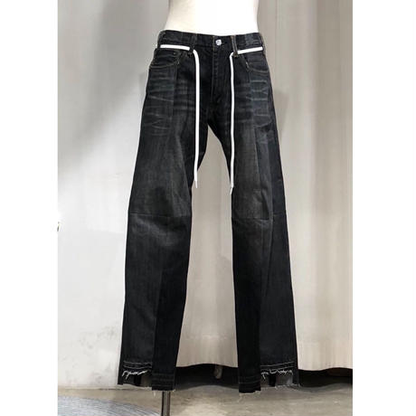 ist design project  switching curve panel slit denim pants J