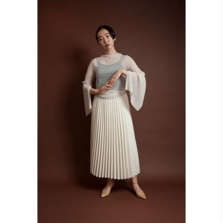 BANSAN 2way pleat long skirt -OFF WHITE×WHITE