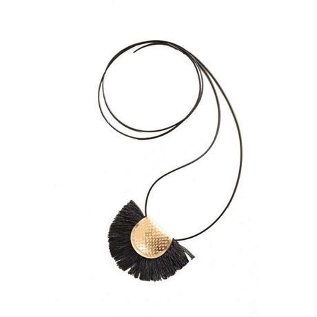 Japanese paper fringe necklace ーBLACK