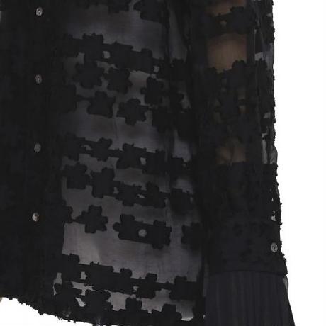 BANSAN See-through Flower Pleats Shirt | BSSS20
