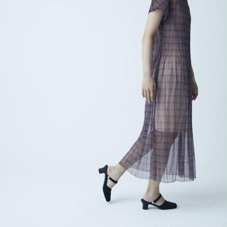 BANSAN Mix Pleat See-through Long Dress - CHECK BROWN