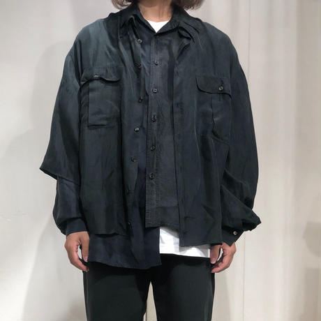ist design project asymmetry layere silk shirt C