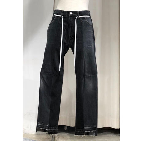 ist design project  switching curve panel slit denim pants I