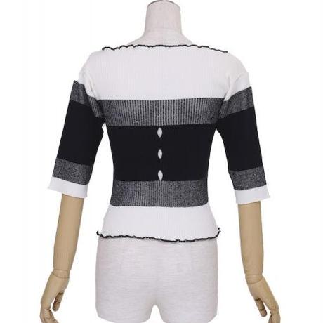 BANSAN  Hole&Stripe Cotton Linen Knit | BSSS20-KT001