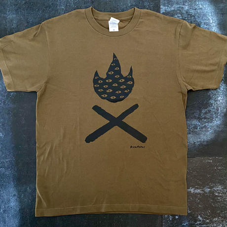 TAKIBI DX  T-shirt(KHAKIxBLACK) Design by KENTARO TANAKA