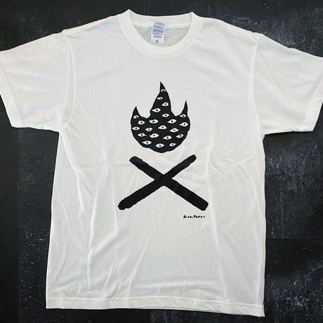 TAKIBI DX  T-shirt(WHITExBLACK) Design by KENTARO TANAKA