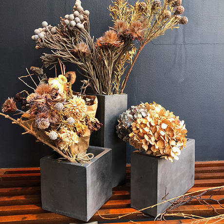 kawara dried flower vase (rectangle) / 瓦のドライフラワーベース
