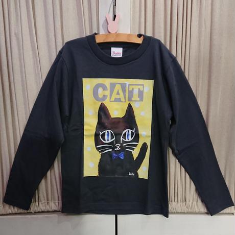 キッズ130cm♪黒猫さんの長袖カットソー