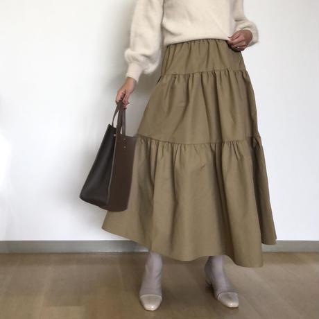 volume tired skirt-beige-