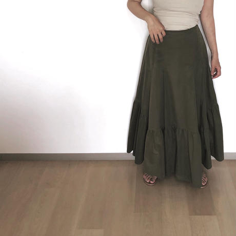 gather volume long Skirt-khaki-
