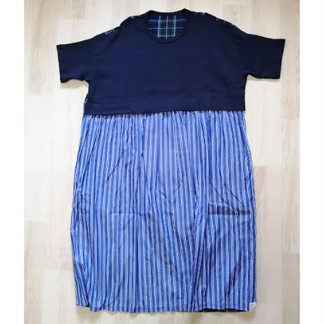 ICOP133-211前Tシャツ+ギャザースカート後チェックストレートワンピース