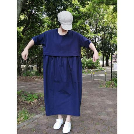 ICOP133-211前Tシャツ+ギャザースカート後チェックストレートワンピース スカート無地バージョン