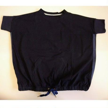 ICTS048-091  裾コード入りプルオーバーTシャツ ネイビー  エコバッグ付き