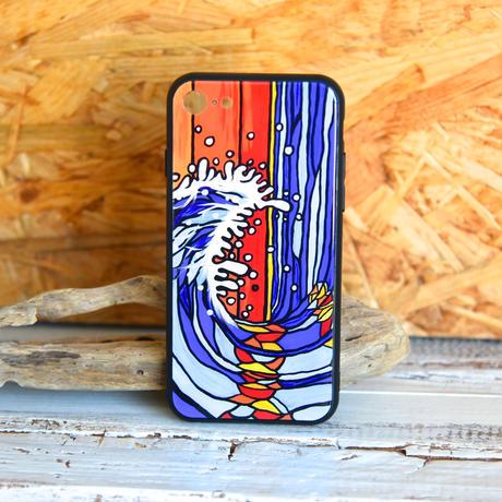 iPhone ガラスハードケース ラウンド型 Wave