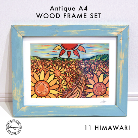 Art Print WOOD FRAME set 〝Aqua Green〟