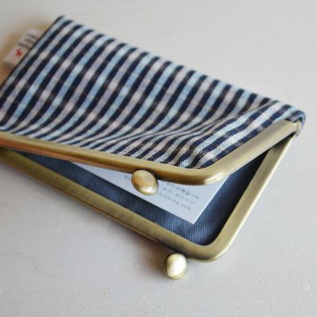ichiガマ カード  小格子/紺水色