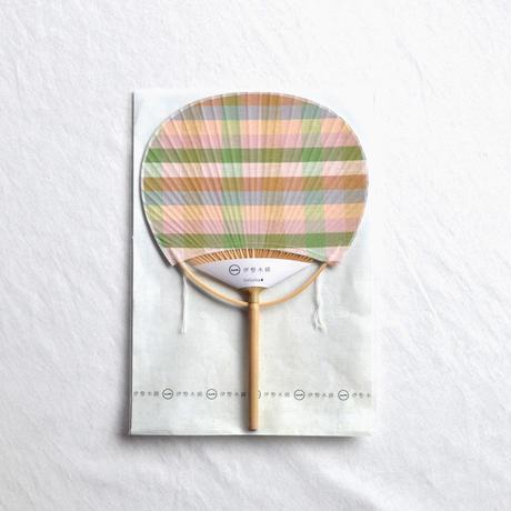 伊勢木綿 豆団扇  茶