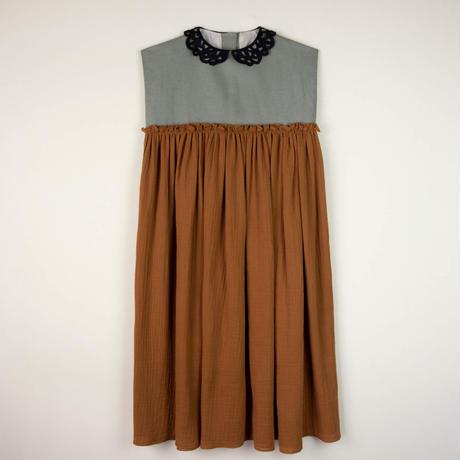 last one!12Y【POPELIN】 BROWN guipure neckline dress(サイズ10Y、12Y)