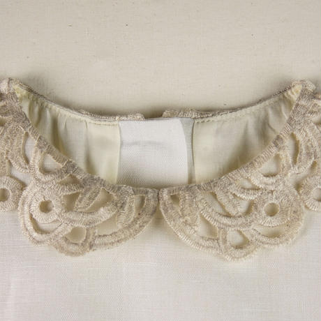 last one!8Y【POPELIN】WHITE guipure neckline dress(サイズ6Y、8Y)