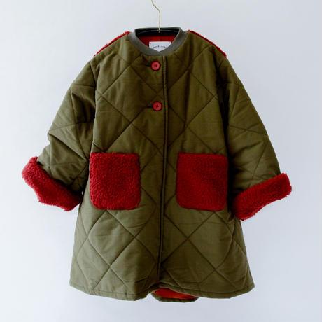 【michirico】quilting long coat カーキ (サイズL、XL)