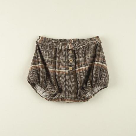 【POPELIN】Herringbone plaod culotte with placket