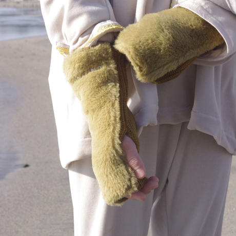 【UNIONINI】   fur arm warmer(mizuiro、mustard)