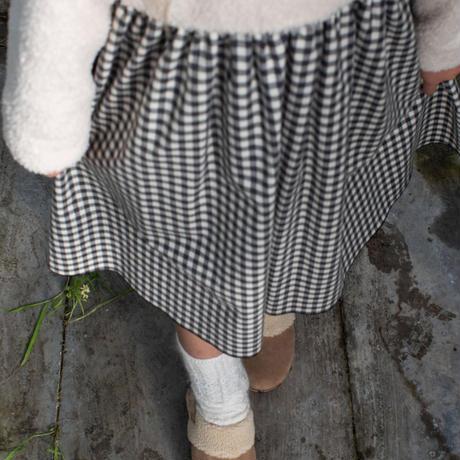 【POPELIN】Ragian sleeve gingham dress