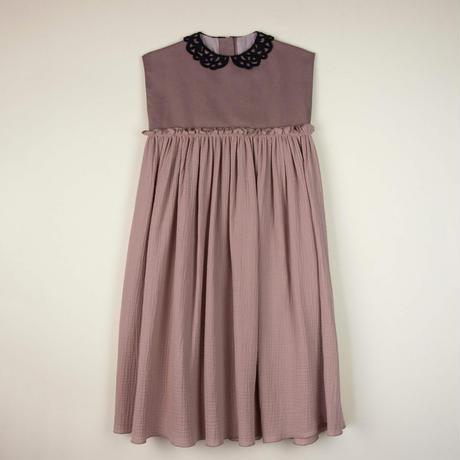 【POPELIN】 PINK guipure neckline dress(サイズ4Y、7Y)