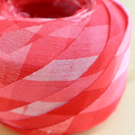 紅色の格子柄・紬2m(2004094)