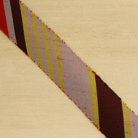 臙脂・辛子・茶の縞模様・紬2m(712)