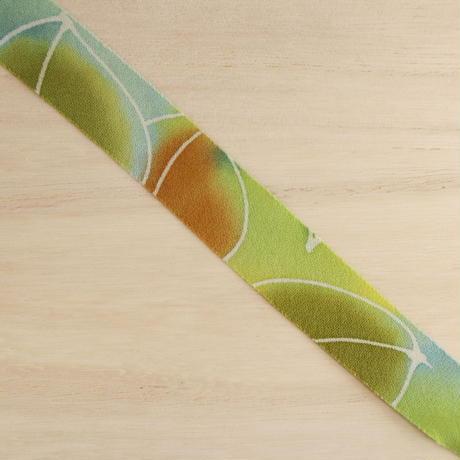 緑のグラデーションの草花小紋・縮緬2m(2008022)