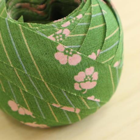 抹茶色・縞に桜色の花模様・化繊(735)