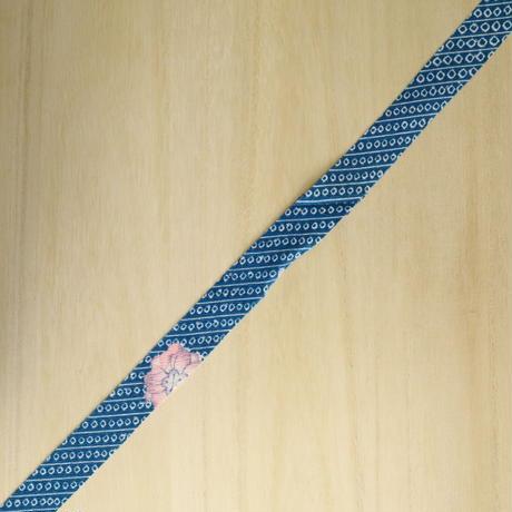千草色(鮮やかな青)の鹿の子に草花模様・化繊(721)