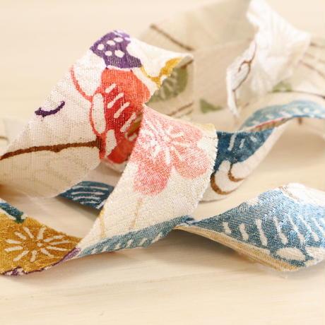 白地に色とりどりの屋敷に花・紋縮緬2m(2008040)