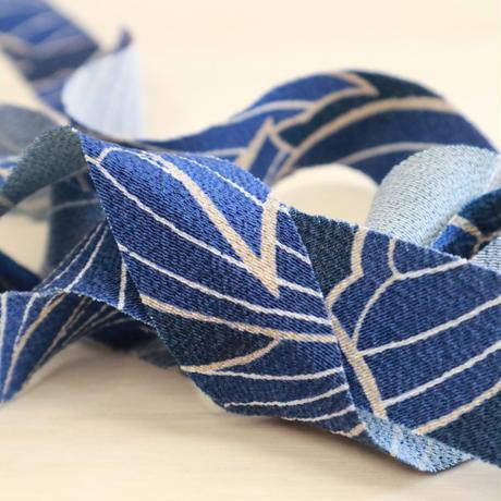 藍色と紺色の蝶柄小紋・縮緬2m(2008016)
