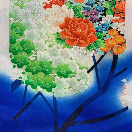 【はぎれ】光沢ある瑠璃色に百花・振袖150㎝(2107017ー1)