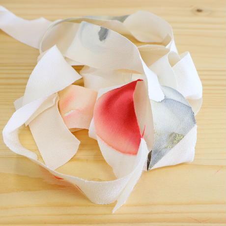 【幅25㎜】白地に水玉のような花柄・縮緬2m(2103007)