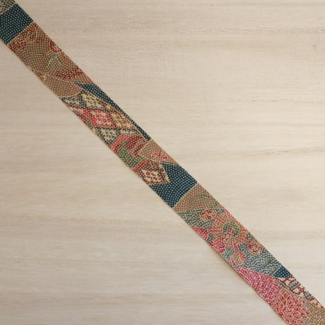 縹色に薄茶色の地紙柄小紋・縮緬2m(2008015)
