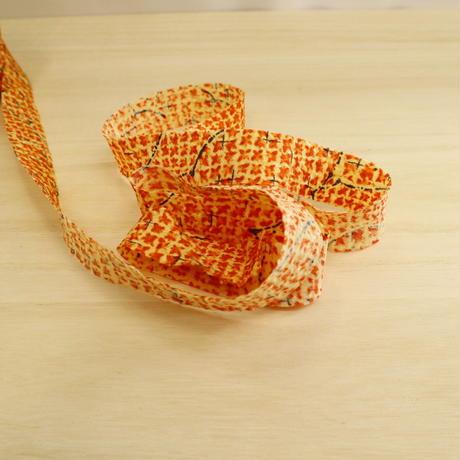 橙色に草花柄・交織2m(711)