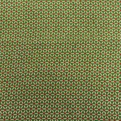 【はぎれ】抹茶色に三角繋ぎ小紋・正絹50㎝(2008035-1)