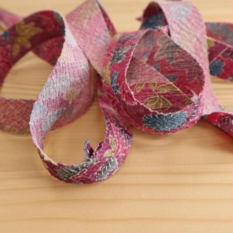 紫の幾何学枠取り花柄・紬2m(2008092)