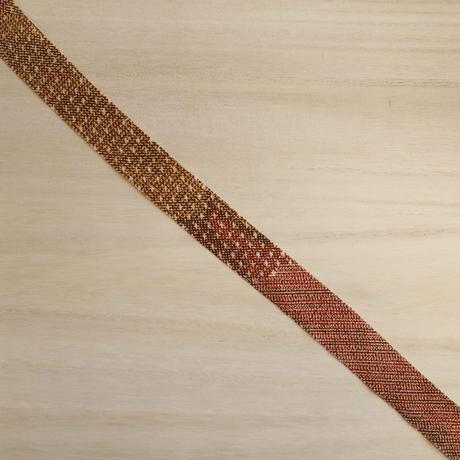 茶・黄土色の雲どり柄小紋・縮緬2m(2008020)