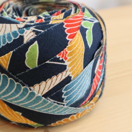 藍色に白・黄・赤・青・緑の青海波菊・縮緬2m(2008108)